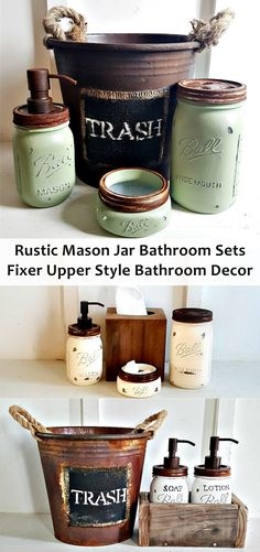 Get the fixer upper look in your bathroom with a rustic mason jar set! Mason Jar Bathroom Sets Rustic. Grey. Blue. Green. Rustic Waste Basket. Rustic Bathroom Decor. Bathroom Accessories. Mason Jar Soap Pump #masonjarcrafts #masonjar #fixerupperstyle #bathroomdecor #rusticdecor #farmhousebathroom #afflink