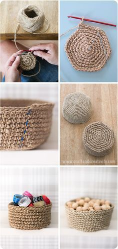 Linen twine baskets - Free crochet pattern, Craft & Creativity - Another! Crochet Home, Diy Crochet, Crochet Crafts, Chunky Crochet, Crochet Basket Tutorial, Crochet Basket Pattern, Crochet Baskets, Knit Basket, Twine Crafts