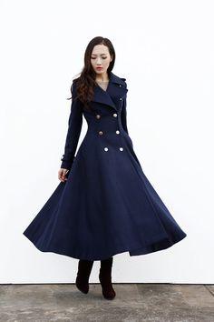 アーミーグリーンマキシコート/ビッグラペルウールコート/ダブルブレストジャケット/ミリタリー冬のコートは by Sophiaclothing