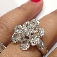 18k white gold and rose cut diamond cocktail ring