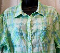 Just My Size button-up shirt in pretty pastel summer colors. Size 2X.
