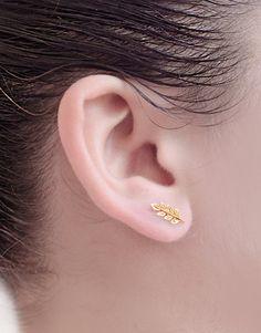 Gold Läßt Ohr-Nadel, Matte Gelbe-Gold, Läßt Ohr-Kehren, Minimalist-Ohr-Stulpe, Natur, Moderne Schmucksachen, Hand Gemacht, Geschenk, ST036