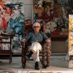 Thomas Hoepker - New York. Long Island. 1977. Painter Willem De Kooning in his East Hampton studio.