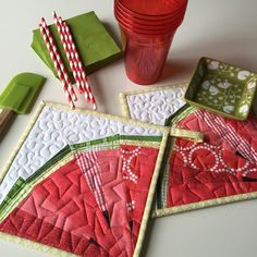 Image of Melon Wedge Quilt Block Pattern - x Mug Rug Patterns, Quilt Patterns, Sewing Patterns, Small Quilts, Mini Quilts, Watermelon Quilt, Watermelon Crafts, Sewing Projects For Kids, Sewing Ideas