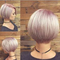 Short Stacked Bob with Pink Pastel Color