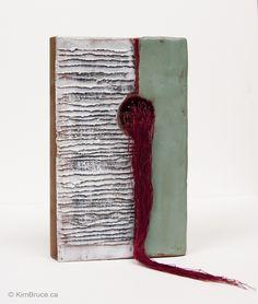 "Kim Bruce - Sad Tail, Encasutic, needle, thread on altered book, 4"" x 7"" x 1.25"" (one side) $550 #bookart"