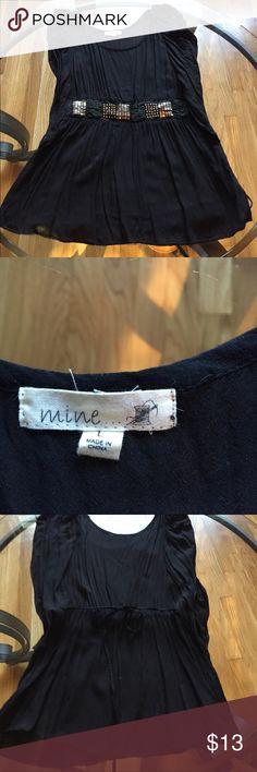 Black top Black top size L with waist detail Mine Tops Blouses