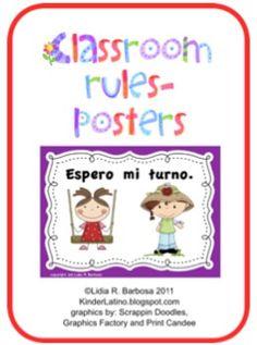 Spanish Teaching Resources for Classroom Management:These posters include:- DAME CINCO- ESCUCHO CON ATENCION- LEVANTO LA MANO ANTES...