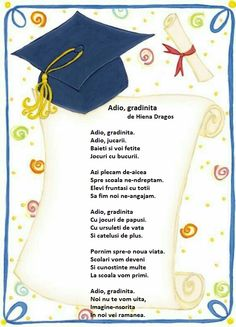Adio, gradinita -  de Hiena Dragos School Frame, Finishing School, Kids Education, Nursery Rhymes, Fun Learning, Montessori, Kindergarten, Teacher, Songs