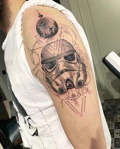 WEBSTA @ evakrbdk - #stormtrooper #starwars #geometrictattoo #customwork #dotwork #ink #inked #blacktattoo