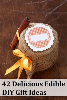 42 Delicious Edible DIY Gift Ideas... http://www.yummyrecipesworld.com/42-delicious-edible-diy-gift-ideas/  Everyone loves an edible gift and this fantastic collection reveals 42 that you can make yourself! Your friends and family would love to receive these and they are so cheap and easy!  See all 42 edible DIY gift ideas at the link above.