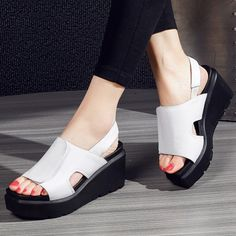 (64.10$)  Watch more here - http://aimns.worlditems.win/all/product.php?id=32796377328 - Thick Crust Creepers Slope Heels Women's Wedges Sandals 2017 Summer New Fashion Leisure Charming All-match Ladies Shoes Hot Sale