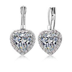 JEXXI Newest Top Quality Charming  Earrings CZ 925 Sterling Silver Earrings Elegant Crystal Wedding Earring Heart Shape