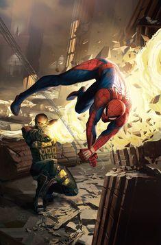 Something Marvel? — Spider-Man vs Shocker by Daryl Mandryk Amazing Spiderman, Spiderman Art, Spiderman Ps4 Wallpaper, Spiderman Sketches, Marvel Comics, Marvel Heroes, Marvel Avengers, Stan Lee, Shocker Marvel
