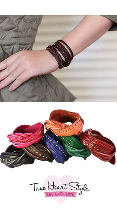 One of our Best Sellers! Color, texture and unmistakable style--this leather wrap bracelet has it all!