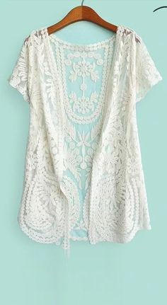Beige Half Sleeve Embroidery Lace Cardigan - Sheinside.com $25 ...