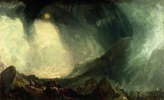 """Turner. Snowstorm: Hannibal Crossing the Apls. Romanticism. 1812 This work is a great example of the concept """"the sublime"""""""
