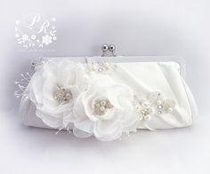 Wedding Clutch Handmade Flora Pearl rhinestones by PureRainDesigns, $48.00