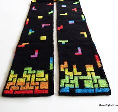 Tetris Prism Scarf Tetris is one of my all time favorite games. Something about how the blocks fit together speaks to me. I designed the Tetris Prism Scarf to feature a Tetris game on both ends, wi… Double Knitting Patterns, Knit Patterns, Knitting Projects, Crochet Projects, Wooly Bully, Yarn Colors, Loom Knitting, Yarn Crafts, Knit Crochet