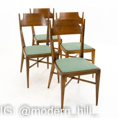 Paul McCobb Mid Century Connoisseur Dining Chairs - Set of 4 Each chair measures 16.5 wide x 20.5 deep x 34 high with a seat height of 17.5 inches This set is available in what we call Restored Vintage Condition. Upon purchase it is fixed so it's free of watermarks, chips or deep scratches with color loss; as well as thoroughly cleaned - at no extra charge but this takes a bit longer to ship than if you don't choose this option.