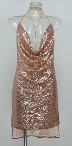 dbfcd660 2017 Sexy sleeveless Deep-V halter split sequin dress Sequin Dress, Elegant  Dresses,