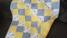 Personalized Yellow and grey baby Quilt bedding Crib quilts