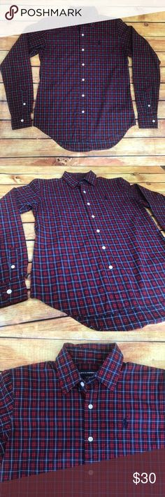 """Ralph Lauren Sport Plaid Long Sleeve Button Down Ralph Lauren Sport Plaid Long Sleeve Button Down Shirt. Size 6. Red/Blue/Black/White. This shirt is preloved, only worn once so it's in excellent condition! It is made of 100% cotton. The bust (pit to pit) measures about 19.5"""" flat across, sleeves (shoulder seam to end of cuff) measure about 24"""" and length (shoulder to hem) about 27"""". All measurements are taken while the garment is laying flat and are approximate, as I am not a seamstress…"""