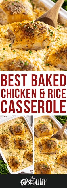 The Best Baked Chicken and Rice Casserole is made completely from scratch in this easy one pan recipe that's sure to please the whole family! Chicken Thigh And Rice Recipe, Chicken Thigh Casserole, Chicken And Rice Dishes, Chicken Thigh Recipes Oven, Baked Chicken Breast, Baked Chicken Recipes, Oven Chicken, Campbells Chicken And Rice Casserole Recipe, Baked Chicken With Rice