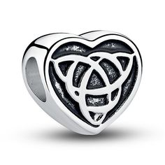 Heart with Trinity Knot Bead Charm - Silver Plated