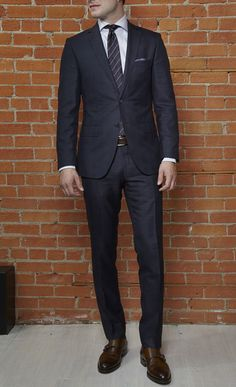 Always match your belt and shoe color! Dapper Gentleman, Gentleman Style, Mens Fashion Suits, Mens Suits, Boss Selection, Windowpane Suit, Double Monk Strap Shoes, Twill Shirt, Professional Outfits