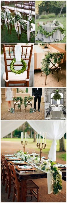 adding greenery to your table and chair decor instantly ups the chic value in your wedding or event - our boxwood wreaths are the perfect addition! Green Wedding, Floral Wedding, Rustic Wedding, Wedding Flowers, Wedding Greenery, Forest Wedding, Wedding Table Decorations, Wedding Chairs, Flower Decorations