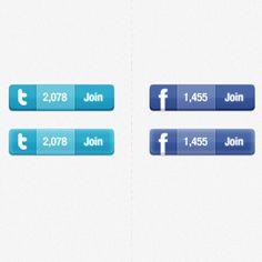 Twitter & Facebook widget Button PSD