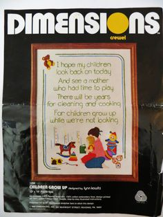 Dimensions Crewel Embroidery Kit 1206, Children Grow Up, Persian Wool Yarns, Mother Child Toys, Has Been Started, Vintage 80s Nursery Decor by CatBazaar on Etsy