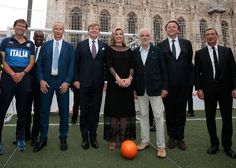 Queen Maxima and King Willem-Alexander of The Netherlands during the 3rd day of the 4 day state visit to Milan. On June 22, 2017, Queen Maxima and King Willem-Alexander attended a Football Clinic: for integration organized by Italian Football Federation at Piazzetta Reale in Milan, Italy.