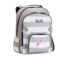 Large Backpack, Fairfax Gray/White Stripe & Navy Trim, Unicorn