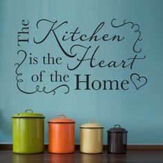 Kitchen Wall Decal - Kitchen is the heart of the home - Phrase Decal on Etsy, $36.00