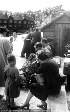 Scarborough, Repairing Lobster Pots c1955