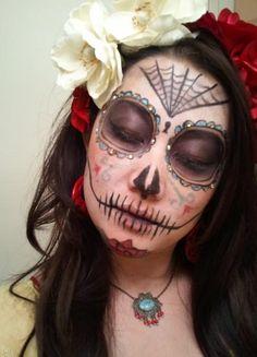 Bandita costume wearing sugar skull spider lady mask