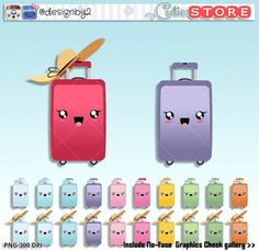 Suitcase Clipart - Kawaii clip art travel bag digital graphics - perfects for planner clipart stickers - paperclips - Commercial Use