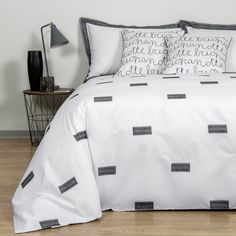 B&W Signs Copripiumino - Paola Navone Collection in Bianco/Nero by Frette