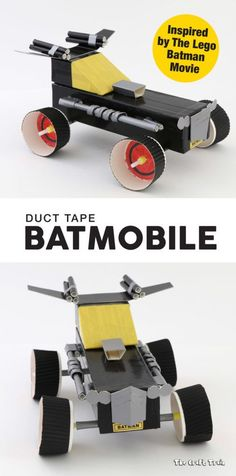 Duct tape Batmobile craft for kids. This is inspired by the model in The Lego Batman Movie #LEGOBatmanMovie #sponsored