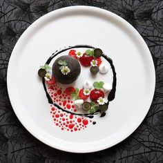 Dark chocolate sphere raspberry black grape and meringue by @lvin1stbite  Tag your best plating pictures with #armyofchefs to get featured.  #dessert#patisserie#foodie#foodart#foodplating #raspberry #meringue #chocolate #plating #chefs