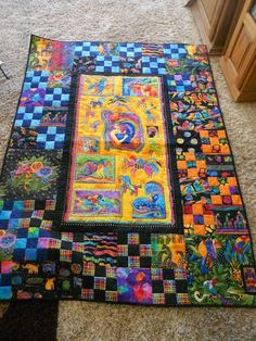 Popular items for quilt animals on Etsy Colorful Quilts, Small Quilts, Laurel Burch Fabric, Quilting Projects, Quilting Ideas, Sewing Projects, Panel Quilts, Quilt Blocks, Baby Quilts