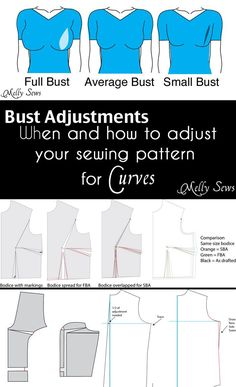 How to do a full bust adjustment and a small bust adjustment, from patterns with darts to princess seams to patterns with no darts, there's a method here