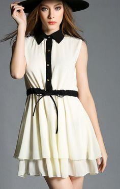 Apricot Contrast Collar Sleeveless Ruffle Dress - abaday.com