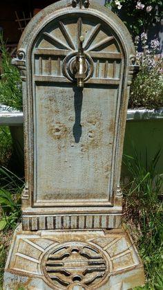 Standbrunnen im Landhausstil wie antik, Brunnen, Gartenbrunnen mit Wasserhahn