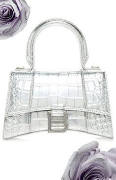 Balenciaga Silver Croc Effect Handbag Silver Blonde, Lady Dior, Crocs, Balenciaga, Bags, Fashion, Handbags, Moda, Fashion Styles