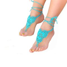 barefoot sandals crochet - Buscar con Google ~ these can be used for bridesmaids/maid of honor for a beach wedding ~ CROCHET