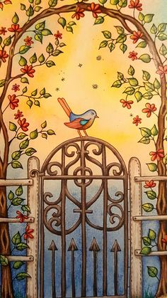 The Secret Garden Adult Coloring Book CLOSE UP of gazebo two page spread. See full page on my adult coloring book boards.  Colored by Dayna Brown with Prismacolors, Caran D'ache Pablos, and Polychromos pencils. The background is soft pastels done first. I erased excess pastels off of the shapes in the picture (like leaves and birds) worth an eraser before spraying with workable fixative. The colored pencils are some over the top of the workable fixative.