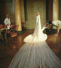 Princess Mette Marit of Norway followed in the royal tradition of LONG bridal trains (2001)